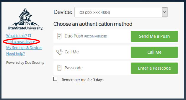 "Image of login screen with ""add new device"" option circled.."