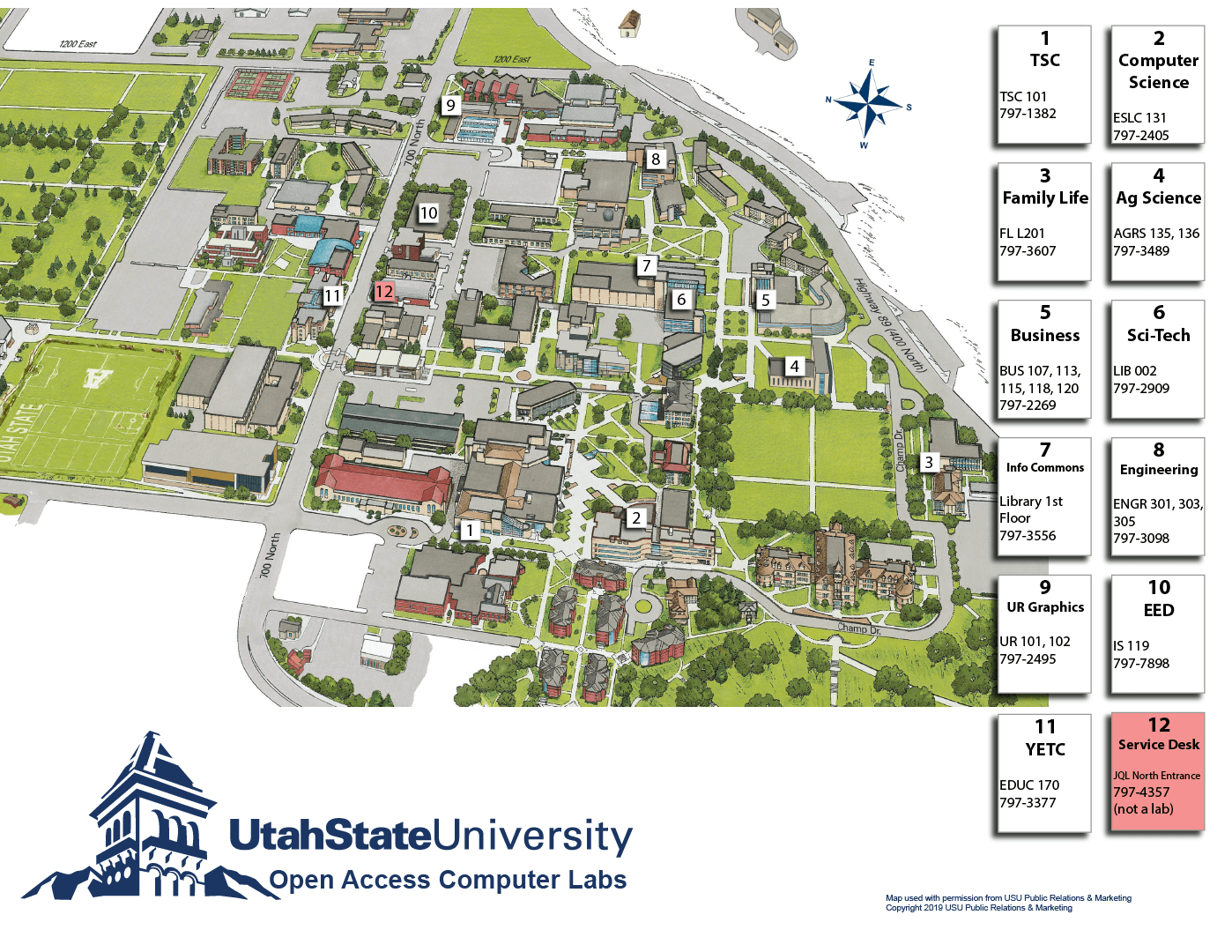 map of USU computer labs